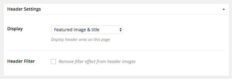 Header setting: Featured image & title