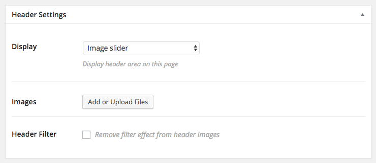 Header setting: Image slider